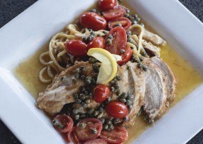 GRILLED LEMON SCAMPI PASTA & PANEED CHICKEN